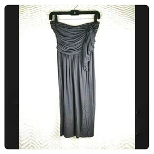 J. Crew Gray Strapless Ruffle Midi Dress Sz 2